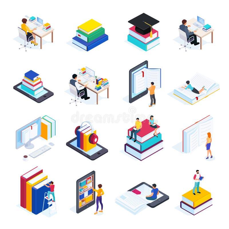 Isometrische pictogrammen van online onderwijs met mensen vector illustratie