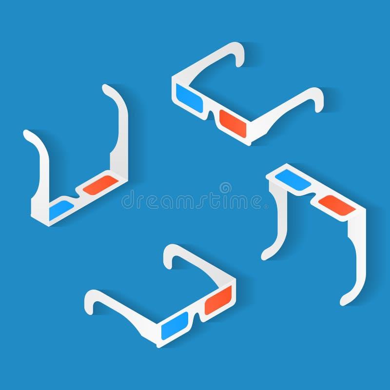 Isometrische pictogramreeks Anaglyph 3d glazen voor het letten van op film royalty-vrije illustratie