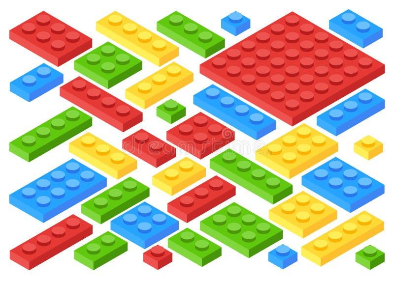 Isometrische Plastic Bouwstenen en Tegels stock illustratie