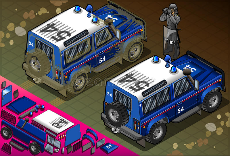 Isometrische Politie van Wegvoertuig in Achtermening vector illustratie