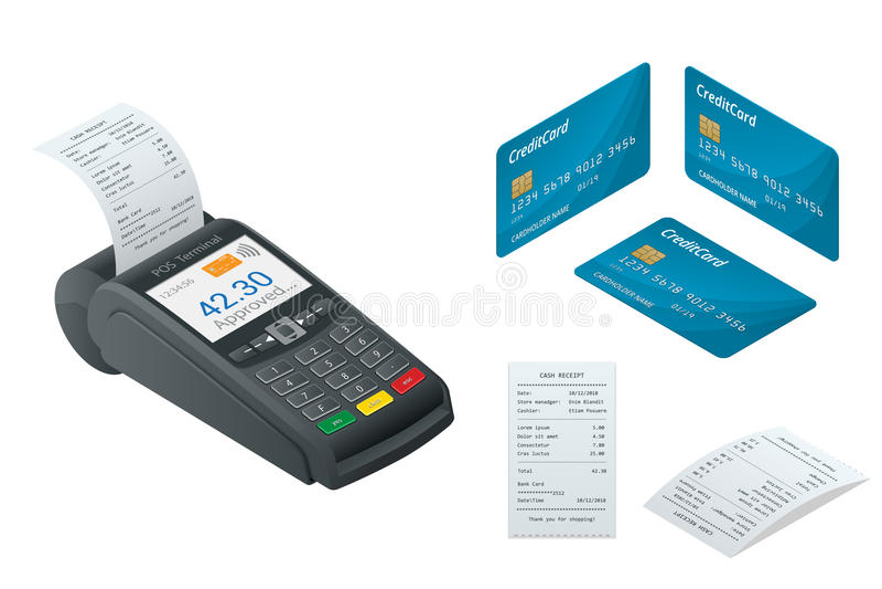 Isometrische POS Terminal, debet-creditkaart, Verkoop gedrukt ontvangstbewijs royalty-vrije illustratie