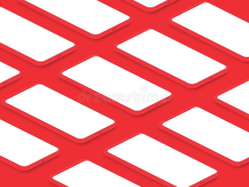Isometrische realistische rote glänzende Modell Smartphones mit Gitter der leeren Bildschirme Bewegliche AppBenutzerschnittstelle vektor abbildung