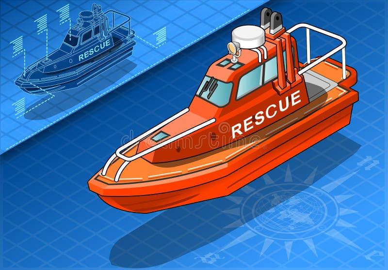 Isometrische Reddingsboot in Front View royalty-vrije illustratie