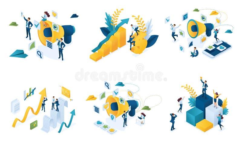 Isometrische reeks concepten op het onderwerp van digitale marketing, bedrijfs marketing, groepswerk, succes royalty-vrije illustratie