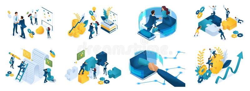 Isometrische reeks concepten op het onderwerp van online samenwerking, overeenkomst, financiering van projecten, online overleg,  stock illustratie