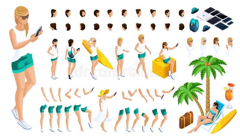 Isometrische Reeks gebaren van handen en voeten van meisjes 3d tiener, rust, meisje op het strand Creeer uw karakter stock illustratie