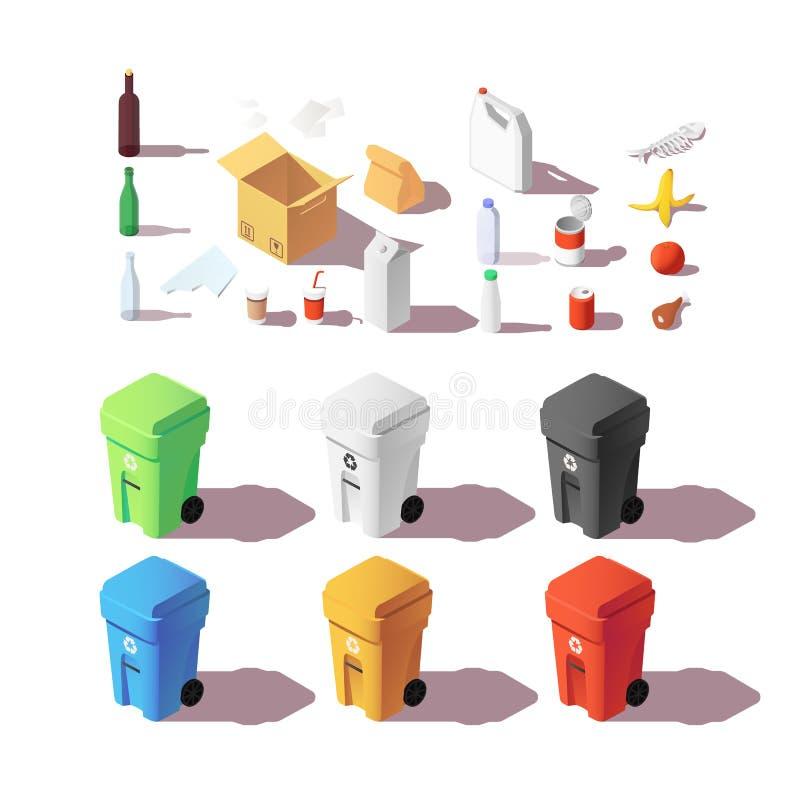 Isometrische reeks kleurrijke vuilnisbakken Sorterende huisvuilbakken Nul afval, ecologie en kringloopconcept vector illustratie