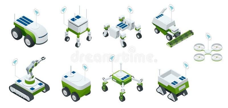 Isometrische reeks van robot 4 van de iot slimme industrie 0, robots in landbouw, de landbouwrobot, robotserre Slimme Landbouw vector illustratie