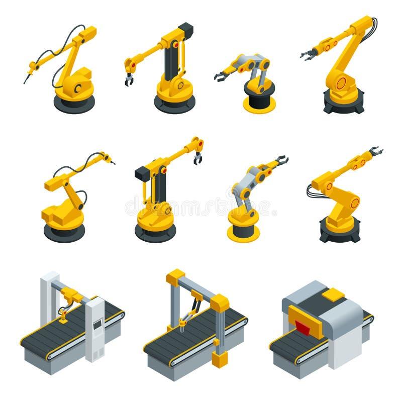 Isometrische reeks van robotachtige handwerktuigmachine bij industriële vervaardigingsfabriek Industriële lassenrobots in product vector illustratie