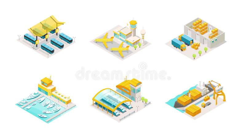 Isometrische reeks van vervoer Busstation, vliegtuigluchthaven, het pakhuis van de leveringsdienst en vrachtwagen Het verschepen  stock illustratie