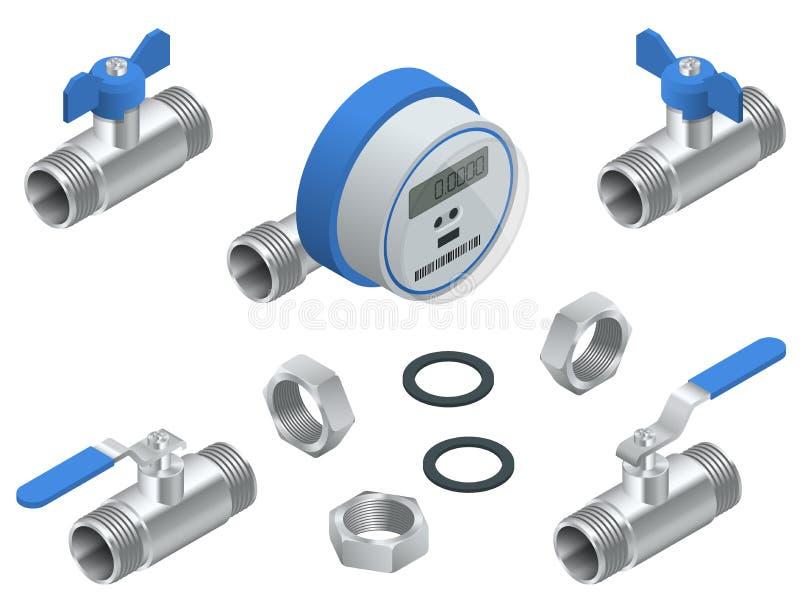 Isometrische reeks van watermeter voor koud water met pijpleiding Vectordieillustratietellers op witte achtergrond worden geïsole vector illustratie