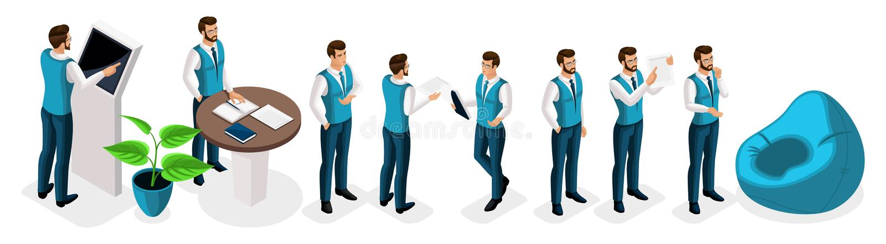 Isometrische reeks zakenlieden, mannelijke bankbedienden, bankdirecteur, eenvormig, kledingscode Het werk in financieel en bankwe stock illustratie
