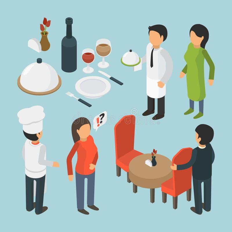 Isometrische restaurantmensen Van de de gebeurtenisluxe van de koffiepersoon van de de levensstijlkelner het voedsel 3d vectorbee stock illustratie