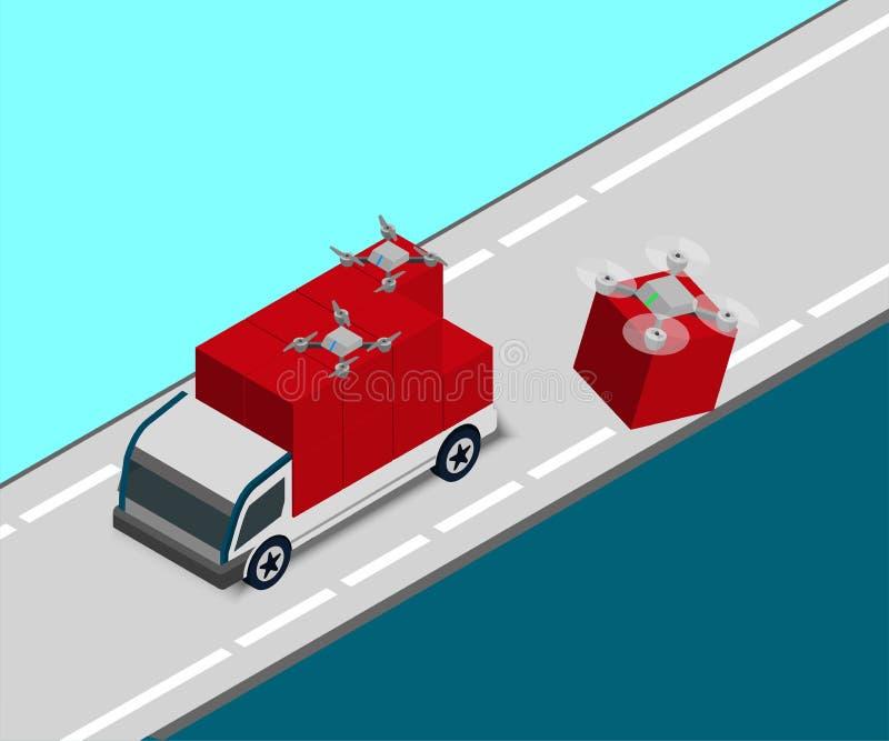 Isometrische robot-drone-pluspakket van bestelwagen naar bestemming stock illustratie