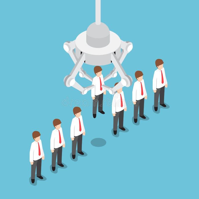 Isometrische robotachtige klauw die gekozen zakenman opnemen die vector illustratie