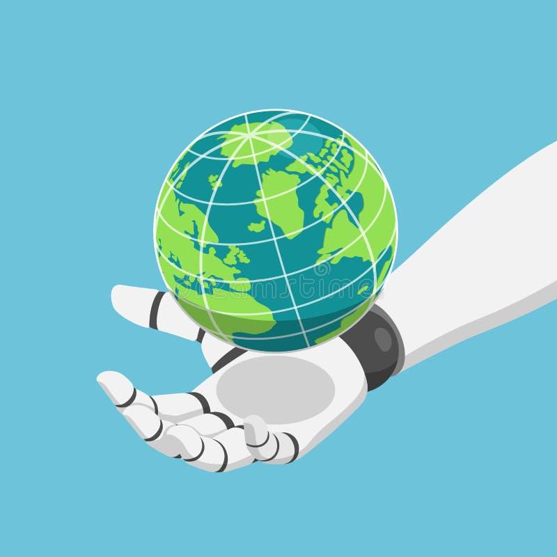 Isometrische Roboterhand, welche die Welt- oder Planetenerde hält vektor abbildung