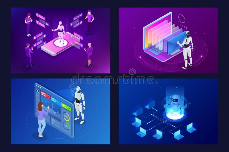 Isometrische robotsmens die met kunstmatige intelligentie met een virtuele interface in chatbot e-mail werken Bericht online royalty-vrije illustratie