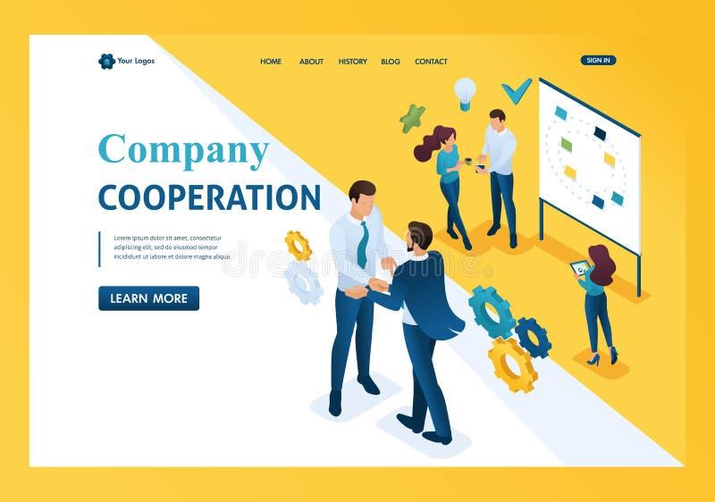 Isometrische samenwerking tussen bedrijven tussen bedrijven en werknemers Malplaatjelandingspagina royalty-vrije illustratie
