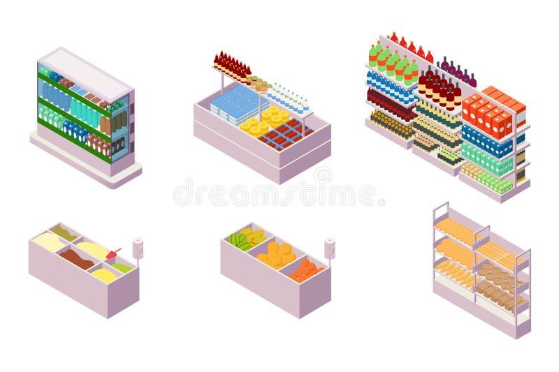 Isometrische Sammlung lokalisiertes städtisches Element 3d der Lebensmittelgeschäftabteilung stock abbildung
