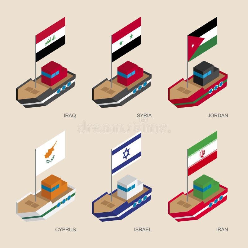 Isometrische schepen met vlaggen: Irak, Iran, Jordanië, Syrië, Cyprus, Israël stock illustratie