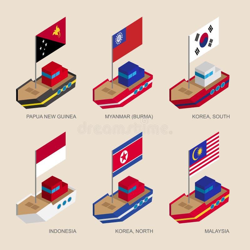 Isometrische Schiffe mit Flaggen: Papua-Neu-Guinea, Myanmar-, Süd- und Nordkorea, Indonesien, Malaysia lizenzfreie abbildung