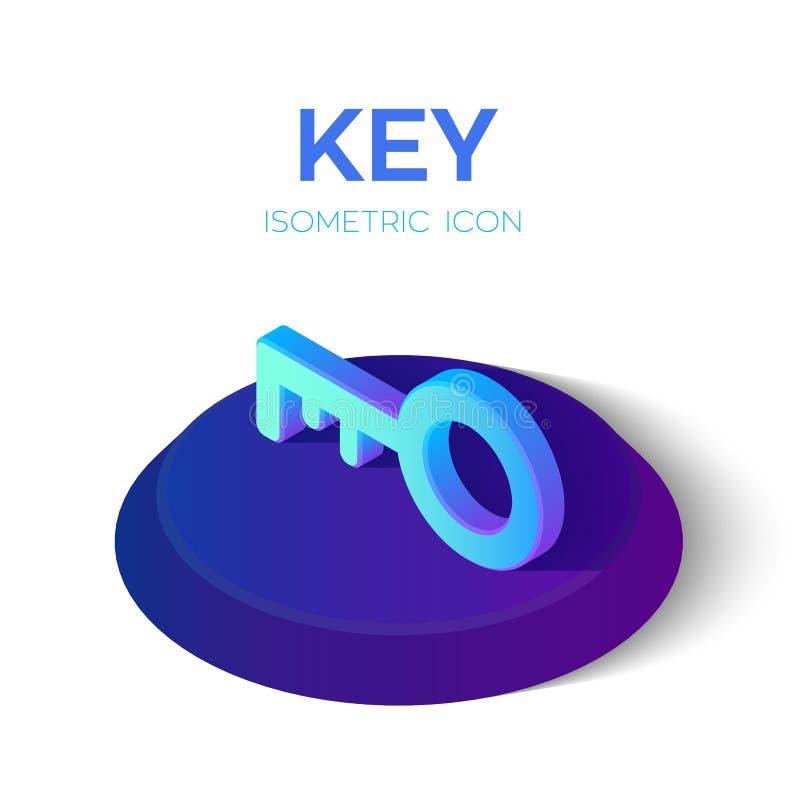Isometrische Schlüsselikone isometrisches Schlüsselzeichen 3D Geschaffen für Mobile, Netz, Dekor, Druck-Produkte, Anwendung Vervo lizenzfreie abbildung