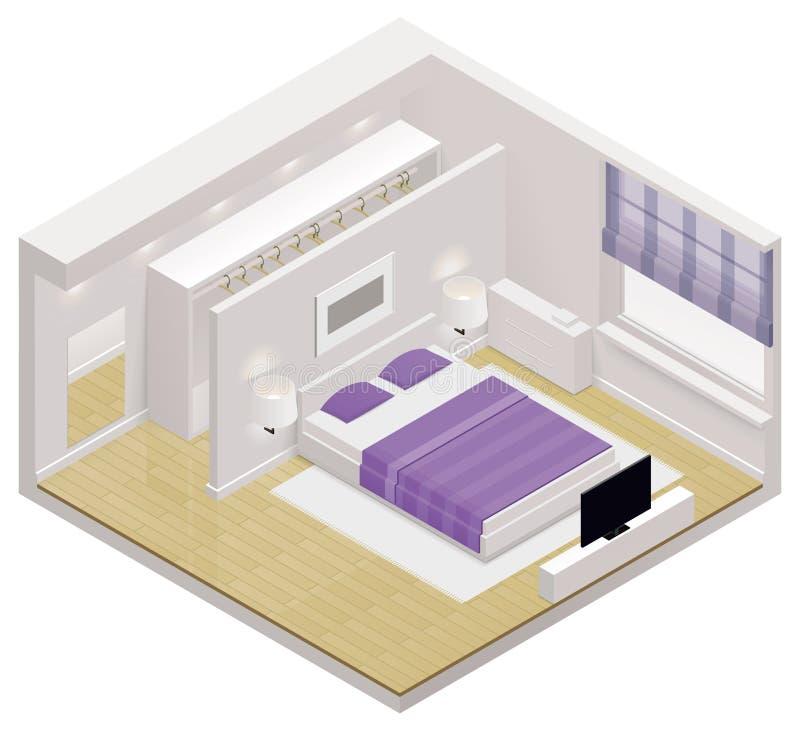 Isometrische Schlafzimmerikone des Vektors lizenzfreie abbildung