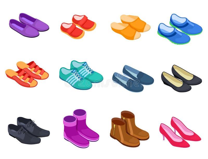 Isometrische schoen De tennisschoenen mannelijke en vrouwelijke schoenen van het pantoffelssportschoeisel, geplaatste laarzen 3d  vector illustratie