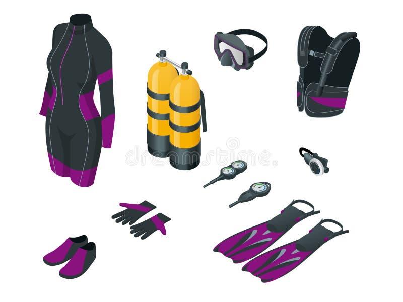 Isometrische Scuba-uitrustingstoestel en toebehoren Apparatuur om te duiken IDiver wetsuit, scuba-uitrustingsmasker, snorkelt, vi stock illustratie