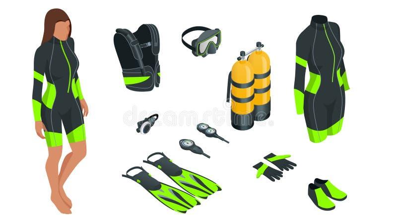 Isometrische Scuba-uitrustingstoestel en toebehoren Apparatuur om te duiken IDiver wetsuit, scuba-uitrustingsmasker, snorkelt, vi royalty-vrije illustratie