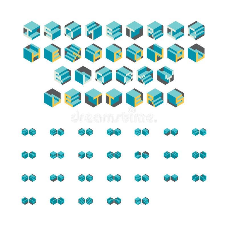 Isometrische sechseckige Blocky Buchstaben stock abbildung