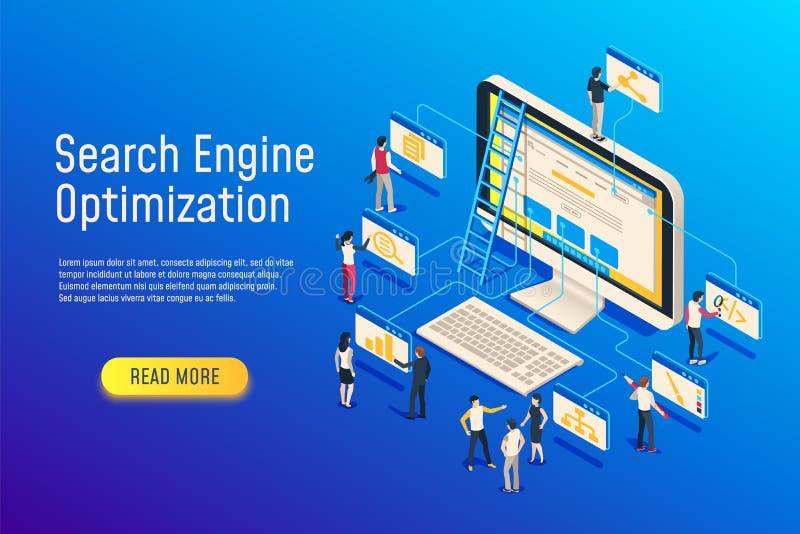 Isometrische seooptimalisering De computer van het websiteteam het optimaliseren 3d seowebsite optimaliseert vectorillustratie vector illustratie
