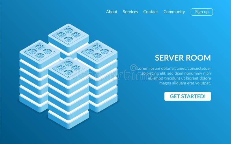Isometrische Serverruimte en grote gegevens - verwerkingsconcept, datacenter en databasepictogram, digitale informatietechnologie stock illustratie