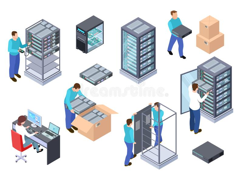 Isometrische serverruimte Informatietechnologie serveringenieur, de servers van de telecommunicatiewolk, computers en werknemers stock illustratie