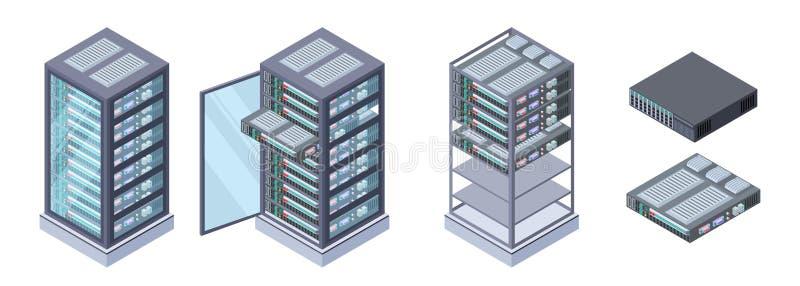 Isometrische servers, gegevensopslagvector 3D computerapparatuur op witte achtergrond wordt geïsoleerd die royalty-vrije illustratie