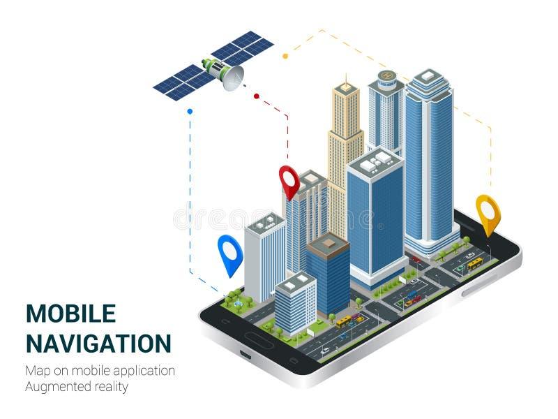 Isometrische Slimme Stad of Mobiel navigatieconcept Mobiel gps navigatie en het volgen concept Smartphone met stadskaart vector illustratie