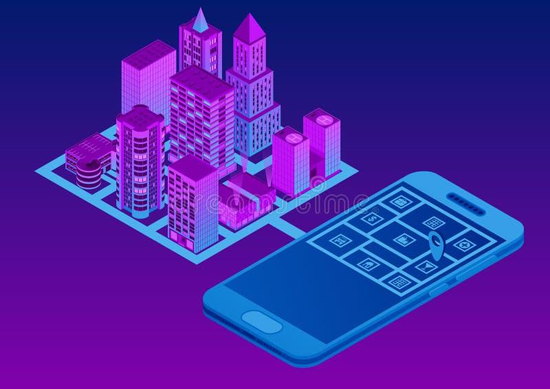 Isometrische slimme stad Mobiele GPS Navigatie Zoeken en informatie van plaatsen over de stadskaart stock illustratie