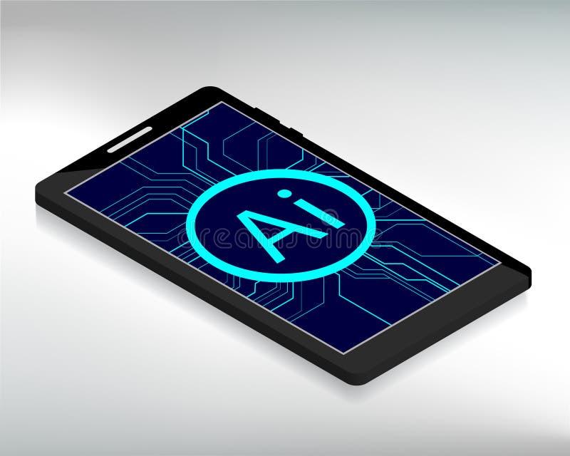 Isometrische smartphone met Ai stock illustratie