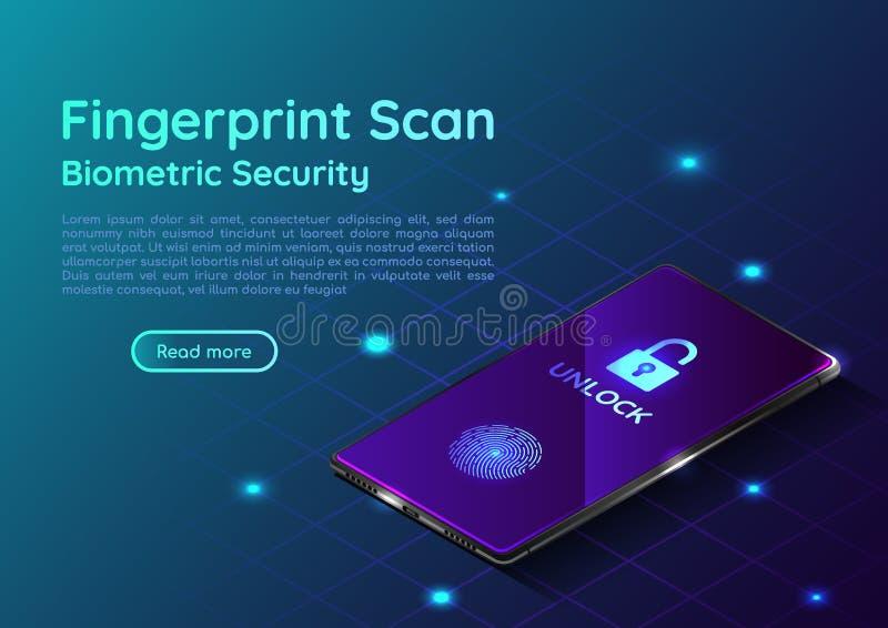 Isometrische smartphone met vingerafdruk scaning systeem vector illustratie