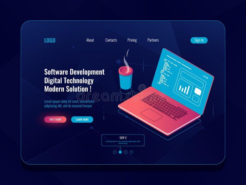 Isometrische software-ontwikkeling, programmering en code die, laptop met koffiekop, gegevens die, de rapportbouw analyseren schr vector illustratie