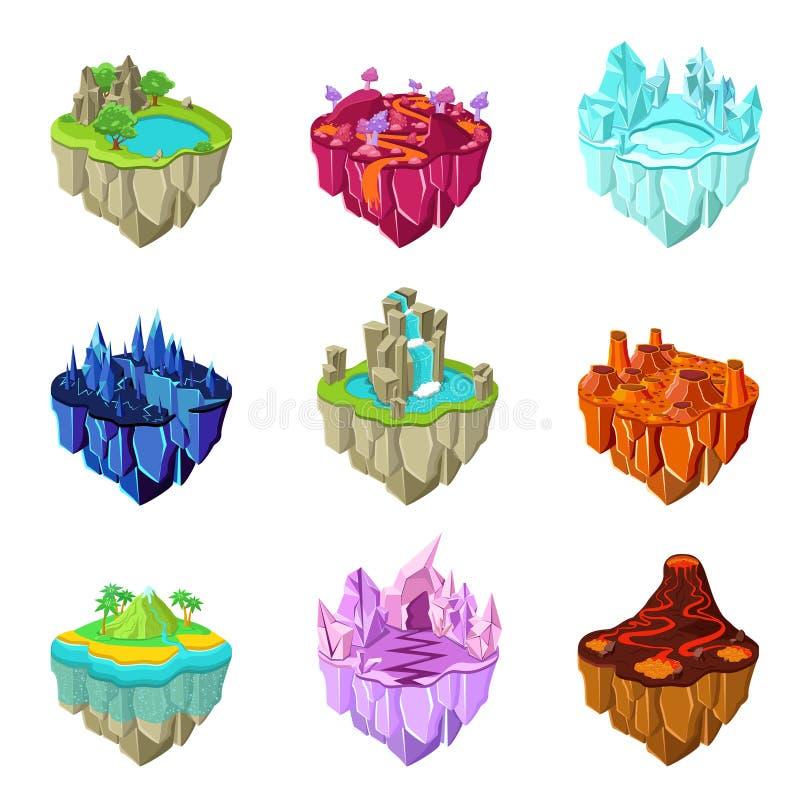 Isometrische Spiel-Inseln eingestellt stock abbildung