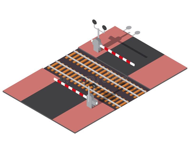 Isometrische spoorwegbarrières stock illustratie