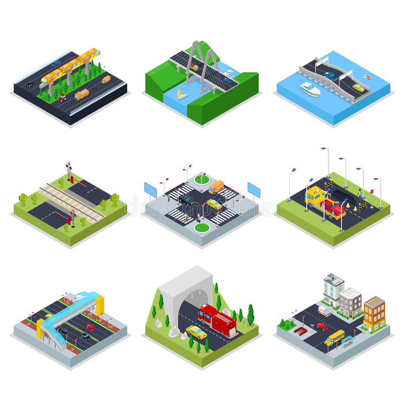 Isometrische städtische Infrastruktur mit Straßen, Kreuzung, Autos und Brücke Stadt trraffic stock abbildung