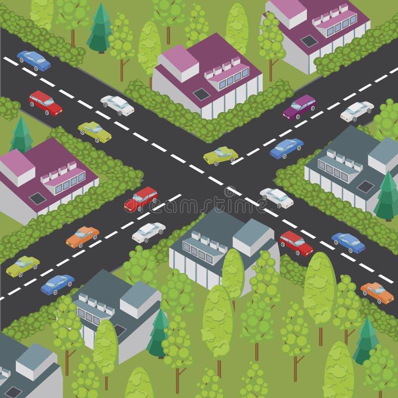 Isometrische stad en weg stock illustratie