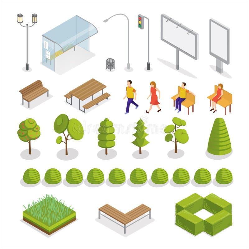 Isometrische stad Isometrische mensen Stedelijke elementen vector illustratie