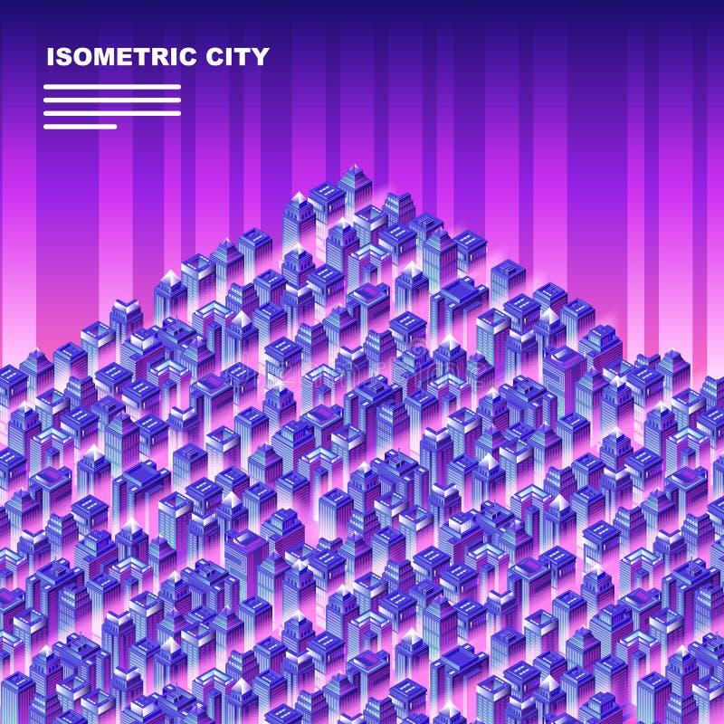 Isometrische stad met wolkenkrabbers vector illustratie