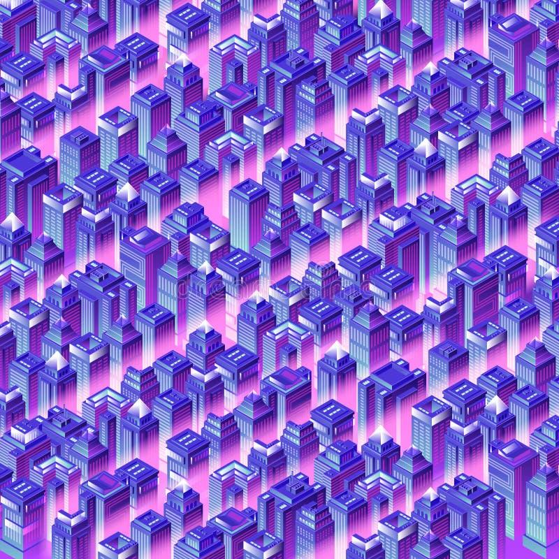 Isometrische Stadsachtergrond stock illustratie