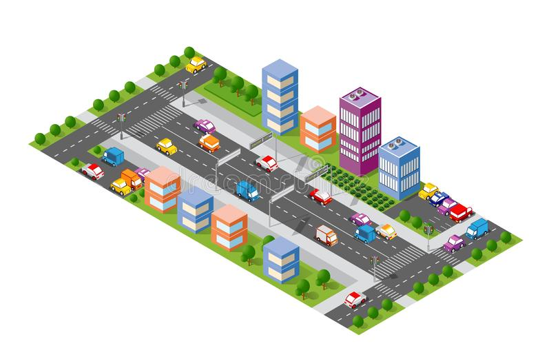 Isometrische stadsboulevard vector illustratie