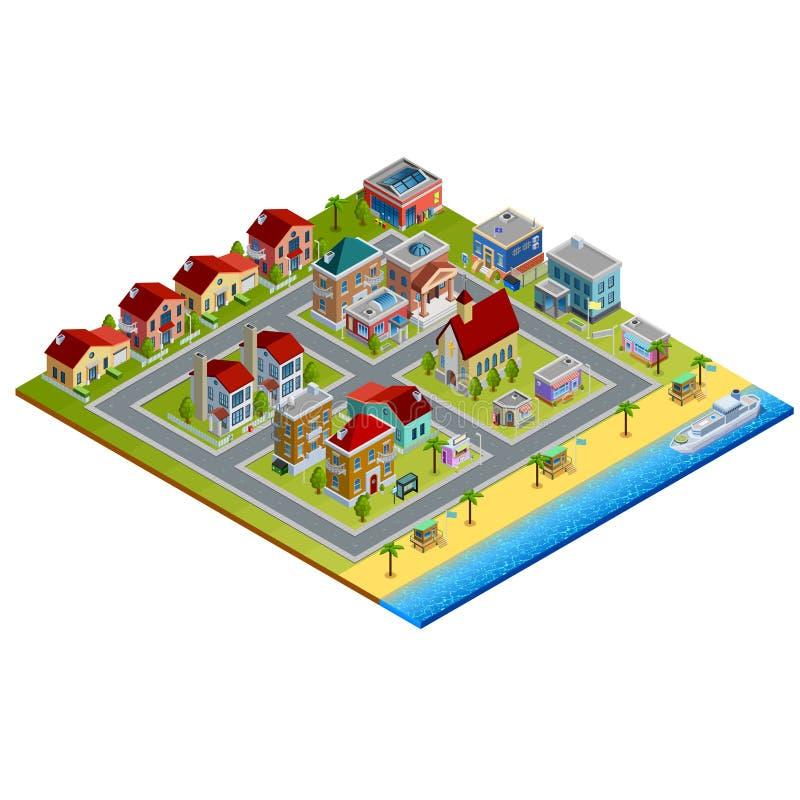 Isometrische stadsillustratie stock illustratie
