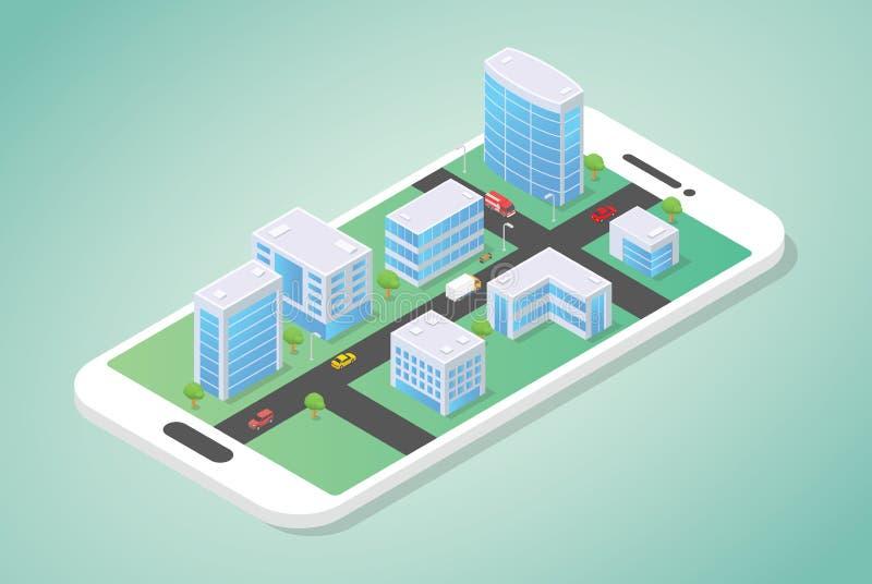 Isometrische Stadt auf den Smartphone mit Gebäude und Auto auf der Straße mit moderner flacher Art - Vektor vektor abbildung